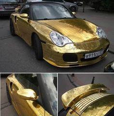 Gold-leafed Porsche.
