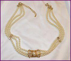 Vintage Pearl & Gold Rhinestone Choker by MarlosMarvelousFinds, $20.00