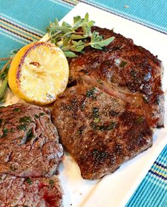 No need to fire up the grill with these lemon-garlic pan fried rib eye steaks.