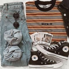 Some of My Favorite Vintage Outfits - and . Teen Fashion Outfits, Edgy Outfits, Cute Casual Outfits, Mode Outfits, Grunge Outfits, Look Fashion, Fall Outfits, Tween Fashion, School Outfits