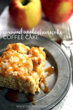 """A thick swirl of caramel cheesecake fillingand apple pie fillingis sandwiched between two layers of light as air coffee cake. Recipe <a href=""""http://melaniemakes.com/blog/2015/09/caramel-apple-cheesecake-coffee-cake.html""""><strong>HERE</strong></a>."""