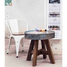 Drum Reclaimed Side Table Upcycled Furniture Smithers of Stamford £ Store UK, US, EU Retro Furniture, Recycled Furniture, Furniture Design, Retro Coffee Tables, Game Room, End Tables, Drum, Recycling, Rustic