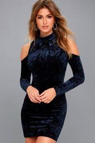 A Little Crush Navy Blue Velvet Cold-Shoulder Bodycon Dress