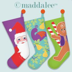 Art, DIY Free Printables, Kid Crafts, Party Decor, Notecards, Recipe Cards, DIY Journals, Felt Toys: Maddalee's Christmas Stocking Patterns,...