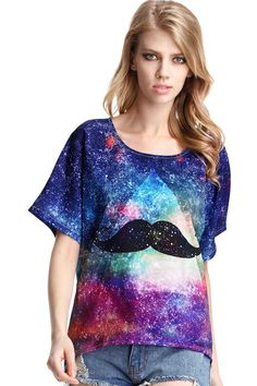 ROMWE | Galaxy Mustache Print T-shirt, The Latest Street Fashion  I love this shirt !
