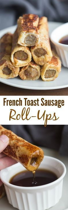 Easy to make and fun to eat these French Toast Sausage Roll-Ups. Easy to make and fun to eat these French Toast Sausage Roll-Ups are always popular with my family. A twist on traditional french toast. What's For Breakfast, Breakfast Dishes, Breakfast Recipes, Breakfast Casserole, Sausage Casserole, Breakfast Burritos, Morning Breakfast, Camping Breakfast, Breakfast Pancakes