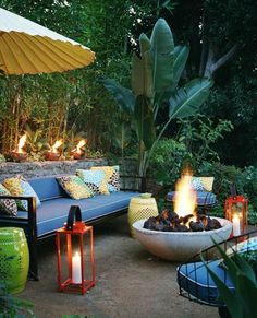 Great back yard with fire pit...