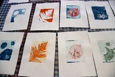 gelli prints leaves; more of a fine arts approach