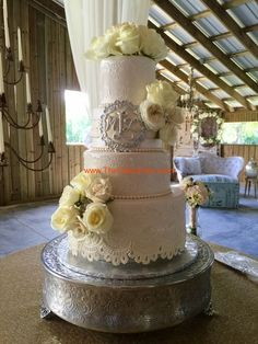 Wedding cake shabby chic style with fondant lace by The cake Zone