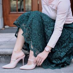 """1,020 Likes, 12 Comments - Steph & Nicole (P.Kid Chicks) (@pkidchicks) on Instagram: """"My blush & forest green lace look is now live on the blog! Featuring @klasse14 watches. Mine is in…"""""""