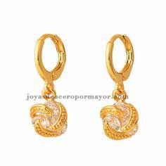 aretes de tres cristal en acero inoxidable de dorado-BREGG93201
