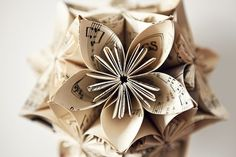 Music Note Kusudama Flower Ball Ornament. $20.00, via Etsy.