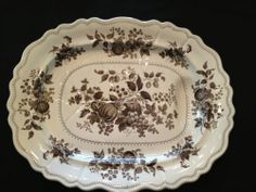 Rare Very Large Well & Tree Brown Transferware Platter FRUIT GARDEN Pantry Shelving, Brown House, Fruit Garden, Fine Porcelain, Pie Dish, Platter, Art Decor, 19th Century, English