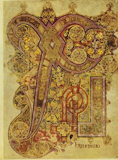 """The Book of Kells, around 800, c.34r: """"now the birth"""" - the Chi-Rho introducing Matthew's account of the nativity Dublin, Ireland, Library of Trinity College"""