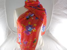 "Vintage Red Abstract Floral Semi-Sheer Oblong Scarf, Unused NOS 10"" x 54"" by Dockb30Crafts on Etsy"
