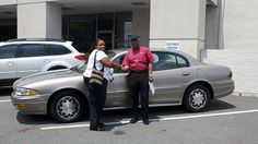Folger Subaru Internet Sales Consultant Bill Barber with Ms. Jones and her 2004 Buick LeSabre sedan!