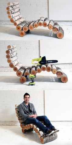 : DIY wood log lounger by Ben Uyeda-the founder of HMM This DIY wood log lounger is made using unused birch logs. Waste from the yard is recycled into an elegant outdoor furniture unit. Diy Garden Furniture, Diy Furniture Projects, Outdoor Furniture, Furniture Design, Upcycled Furniture, Cabin Furniture, Western Furniture, City Furniture, Cheap Furniture