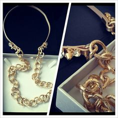 Coming soon...Chunky Gold, Swarovski and Leather necklace. Serious style statement.