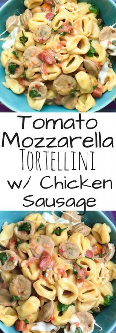 You'll love this Fast and Easy One Pot Tomato Basil Tortellini with Chicken Saus. - You'll love this Fast and Easy One Pot Tomato Basil Tortellini with Chicken Sausage recipe. Sausage Tortellini, Chicken Tortellini, Tortellini Recipes, Easy Pasta Recipes, Basil Chicken, Recipes With Basil, Noodle Recipes, Simple Recipes, Free Recipes