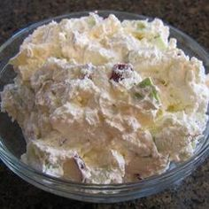 Salad, Taffy Apple Salad, I Got This Recipe From My Aunt Sandy And It Is Delicious! Plan Ahead, Because This Recipe Needs To Chill Overnight. Taffy Apple Salad, Caramel Apple Salad, Apple Salad Recipes, Lettuce Recipes, Dessert Salads, Dessert Recipes, Fruit Salads, Fruit Food, Fruit Pie