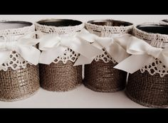 Burlap rustic vases, 14 containers, table decor for wedding upcycled tin cans… Tin Can Crafts, Jar Crafts, Diy And Crafts, Crafts For Kids, Arts And Crafts, Tin Can Art, Deco Champetre, Pot A Crayon, Recycle Cans