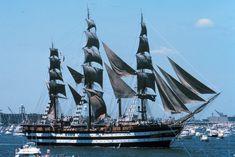Italian tall ship Amerigo Vespucci in New York Harbor, 1976.