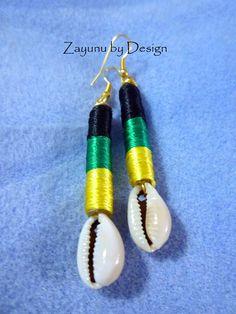 Jamaican Flag Pure Silk Drop Earrings by ZAYUNU on Etsy, $10.00