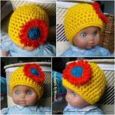 Vauvan virkattu auringonkukka-pipo, Croheted baby hat for newborn