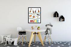 Music Theme Printable Poster  Music Instruments Digital Print  Rainbow Music Playroom Printable Wall Decor  Custom Digital Prints and Poster Designs :by Metanoia Prints  #makingmetanoia