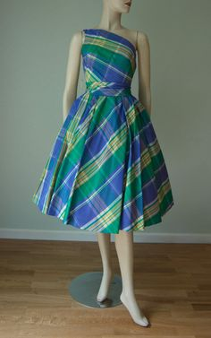 1950s New with Tag - Mr Mort Plaid Taffeta One-Shoulder Party Dress // Full…