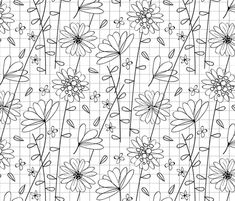 Floral Grid fabric by jenflorentine on Spoonflower - custom fabric