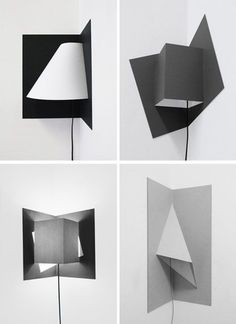Pop-up corner lamps in minimal origami design Via @Dornob Design.)