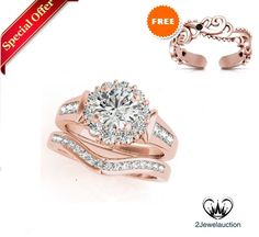 """1.7 CT Simulated Diamond Flower Style Rose Gold Over Bridal Ring Set """"Free Gift""""…"""