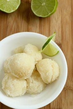 Lime-Lemon Sorbet  Good with 1 tbl of fresh grated ginger, cut back on the sugar