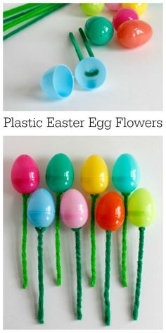 Easter Craft for Plastic Eggs and Pipe Cleaner Flowers Get your house ready with a spring flower decorations. Craft with plastic eggs by making these Plastic Easter Egg Flower Bouquets! Easter Projects, Easter Crafts For Kids, Plastic Egg Crafts For Kids, Easter Egg Hunt Ideas, Bunny Crafts, Art Projects, Easter Stuff, Flower Crafts, Flower Art