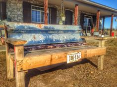 Blue Chevy tailgate bench by Teal Death Do Us Part www.facebook.com/tealdeathdouspart We use recycled wood and vintage tailgates to create these colorful, eye catching benches.