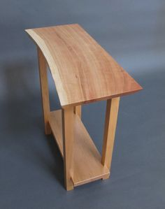 Live Edge Cherry Side Table: for Entryway Table, Small Side Table, Solid Wood Accent Table- Minimalist Modern Handmade Wood Furniture