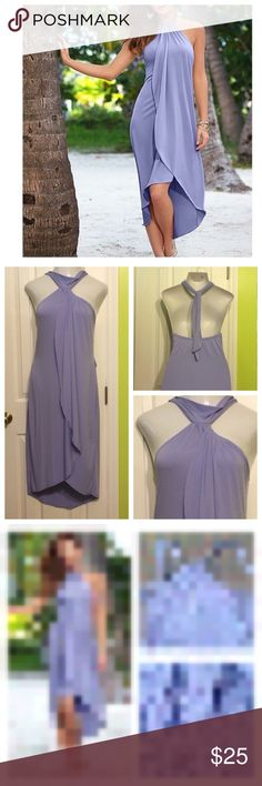 "Venus Lavender Waterfall Stretchy Maxi Dress Venus. Gorgeous dress!!!  Lavender waterfall maxi dress. Super soft and stretchy!! 95% polyester 5% spandex. Size large. Underarm to underarm 16"" but will stretch a lot more! Underarm to hem 42"". Excellent used condition!! Venus Dresses Maxi"