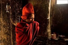 Ladakh  Zanskar Young gelugpa monk in the kitchen of Karsha gompa