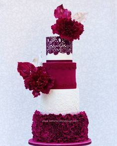 stunning wedding cake with ruffles, lace and big blooms! ~ we ❤ this! moncheribridals.com