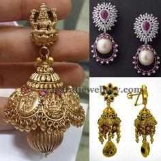 Jewellery Designs: Antique Kundan and Diamond Earrings