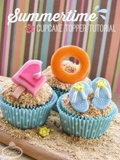 Be the envy of any party this season when you create beach-themed cupcakes topped with all your favorite summer toys and treats.