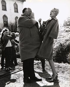 Alfred Hitchcock and Tippi Hedren on the set of The Birds [1963]