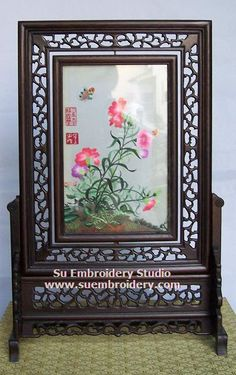 Floral, double-sided embroidery work, one embroidery two identical sides, Chinese Suzhou silk embroidery art, Su Embroidery Studio