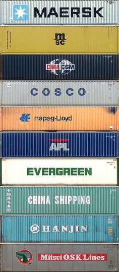 The top ten container shipping companies by TEU equivalents, in order. Container images taken fromEiji Hoshiai'sforty-foot dry freightpage. Full size image.