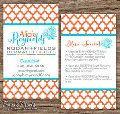 Business cards 100 250 skin care pinterest fields 35 x 2 rodan and fields business card this listing includes two sided business colourmoves