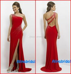 Wholesale Prom Dresses - Buy New Blush 2014 Prom Dresses Red One Shoulder Sheath Column Backless Sexy High Side Slit Beaded Sweep Train Formal Gowns Party Dress AP-121, $119.0 | DHgate