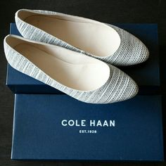 Flats Super cute flip on flats with textured material. Brand new never been worn! Still in the box Cole Haan Shoes Flats & Loafers