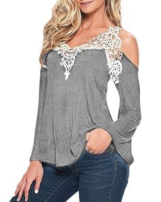 16bf2525c3320 ZANZEA Ladies Off Shoulder Lace Crochet Hollow Long  Short Sleeve Blouse  Tops at Amazon Women s