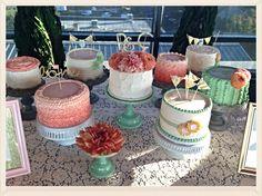 Shabby Chic Peach, Mint & Coral Wedding Cake Display.  www.facebook.com/heidisdc